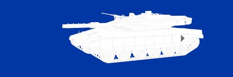 3d rendering of a tank on a blue background blueprint. Shape Stock Image