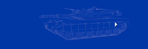 3d rendering of a tank on a blue background blueprint. Shape Stock Photo