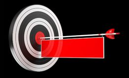 3D rendering target black white and red target with arrows. On black background Royalty Free Stock Image
