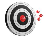 3D rendering target black white and red target with arrows. On white background Royalty Free Stock Photos