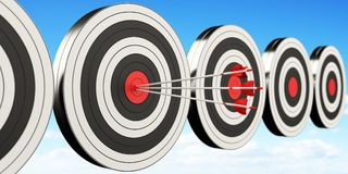3D rendering target black white and red target with arrows. On cloud background Stock Image