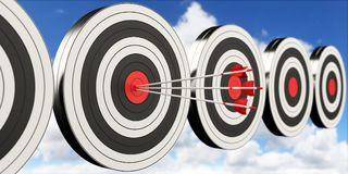 3D rendering target black white and red target with arrows. On cloud background Stock Photography