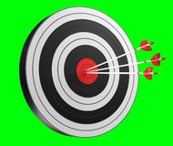 3D rendering target black white and red target with arrows. On green background Royalty Free Stock Images