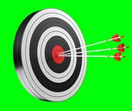 3D rendering target black white and red target with arrows. On green background Stock Image