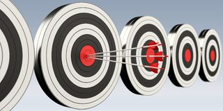 3D rendering target black white and red target with arrows. On grey background Royalty Free Stock Photos