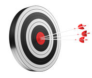 3D rendering target black white and red target with arrows. On white background Royalty Free Stock Photography