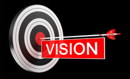 3D rendering target black white and red target with arrows. On black background Stock Photos