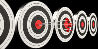 3D rendering target black white and red target with arrows. On black background Stock Photo