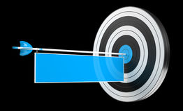 3D rendering target black white and red target with arrows. 3D rendering target black white and blue target with arrows on black background Royalty Free Stock Photos