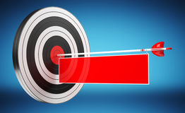 3D rendering target black white and red target with arrows. On blue background Stock Image