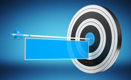 3D rendering target black white and red target with arrows. 3D rendering target black white and blue target with arrows on blue background Stock Photography