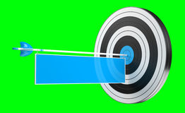3D rendering target black white and red target with arrows. 3D rendering target black white and blue target with arrows on green background Royalty Free Stock Photos