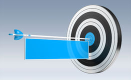 3D rendering target black white and red target with arrows. 3D rendering target black white and blue target with arrows on grey background Royalty Free Stock Photos