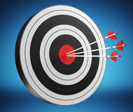 3D rendering target black white and red target with arrows. On blue background Royalty Free Stock Photography