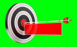 3D rendering target black white and red target with arrows. On green background Royalty Free Stock Photo