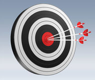 3D rendering target black white and red target with arrows. On grey background Royalty Free Stock Images