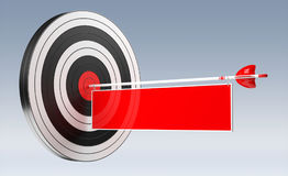 3D rendering target black white and red target with arrows. On grey background Royalty Free Stock Photography