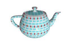 3d rendering of teapot on white background. Rendering teapot white background blue pattern ceramic breakfast cafe drink water china chinese asia item object stock photos