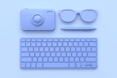 3d render technology concept keyboard camera pen glasses purple-violet all object abstract scene royalty free illustration