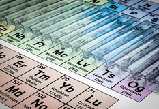 3D Rendering of Test Tubes on Color Periodic Table Background. Chemistry Glassware Scene, Periodic Table Background Stock Images