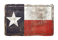 Old Texas State flag. 3d rendering of a Texas State flag over a rusty metallic plate. Isolated on white background Royalty Free Stock Photography