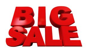 3D rendering of text big sale. Isolated on white background Stock Photo