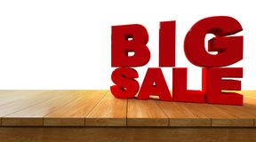 3D rendering of text big sale on a Perspective Wooden board. Isolated on white background Royalty Free Stock Images