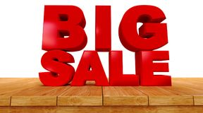 Big sale on a Perspective Wooden board. 3D rendering of text big sale on a Perspective Wooden board isolated on white background Stock Photos