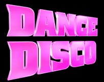 3D rendering. Text disco music on black background. Close-up vector illustration