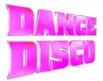 3D rendering. Text disco music on white background. Close-up Stock Images