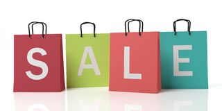 3d rendering text sale on shopping bags Stock Photo