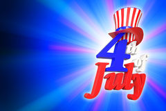 3D rendering of 4th of July, Independence day in the United State. Of America on blue gradient background with clipping paths for easy to cut out Royalty Free Stock Photos