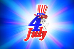3D rendering of 4th of July, Independence day in the United State. Of America on blue gradient background with clipping paths for easy to cut out Stock Image
