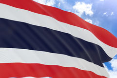 3D rendering of Thailand flag waving on blue sky background Royalty Free Stock Image