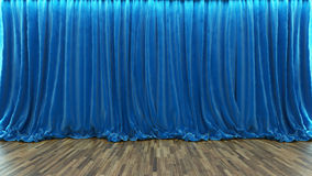 3d rendering theater stage with blue curtain and wooden floor Royalty Free Stock Photo