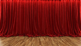 3d rendering theater stage with red curtain and wooden floor. 3d rendering red theater and cinema curtain with parquet floor Stock Photo