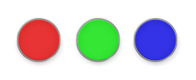 3d rendering of three colorful push buttons, a red, a blue and a green one. Stock Images