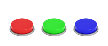3d rendering of three colorful push buttons, a red, a blue and a green one. Stock Photography