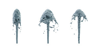 3d rendering of three fountain streams in greyish blue color splashing upwards. Stock Photography