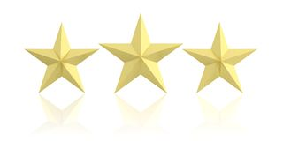 3d rendering three golden stars. On white background royalty free illustration