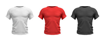 3d rendering of three male T-shirts in realistic muscular torso front view in white, red and black colors. Clothes and wardrobe. Casual and sport wear. T Stock Image