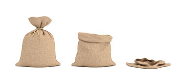 3d rendering of three  money bags, one full, one open and one empty. Stock Photography