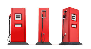 3d rendering of three red gas pumps in front, side and half side views isolated on white background. Fuel dispenser. Fill full tank. Road trip Stock Photography