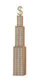3d rendering of a three tiered skyscraper with a large USD sign as it`s spire on white background. Office building. Company headquarters. Banking and Stock Photography