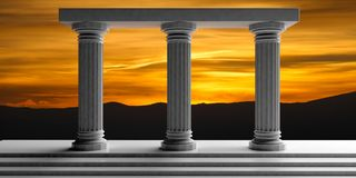 3d rendering three white marble pillars Royalty Free Stock Photo