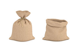 3d rendering of tied canvas sacs and open sack in front view isolated on white background Stock Photo
