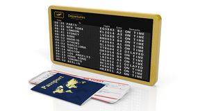 3D rendering of timetable with tickets and passport. 3D rendering of airport schedule with two tickets in passport on white background Stock Images
