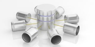 3d rendering tin cans telephone and database. On white background Royalty Free Stock Photography