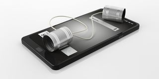 3d rendering tin cans telephone on a smart phone. On white background Royalty Free Stock Image