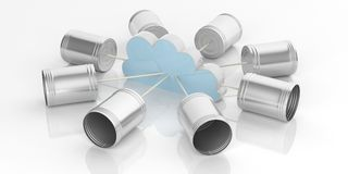 3d rendering tin cans telephone and storage cloud. On white background Royalty Free Stock Photos